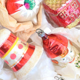 Vintage 1950s Hand Painted / Shaped Medium Glass Christmas Baubles / Decorations - Red / Gold / Green