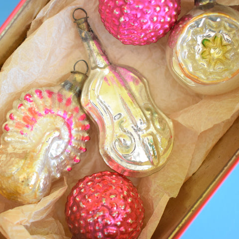 Vintage 1950s Special Hand Painted / Shaped Small Glass Christmas Baubles