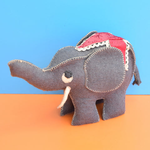 Vintage 1950s Felt Elephant Toy - Lovely