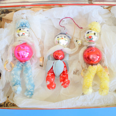 Vintage 1950s Pipe Cleaner People / Glass Christmas Decorations x3 - In Vintage Christmas tin