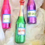 Vintage 1950s Rare Glass Christmas Decorations x3 - Wine Bottles - Pink, Green & Purple - Boxed