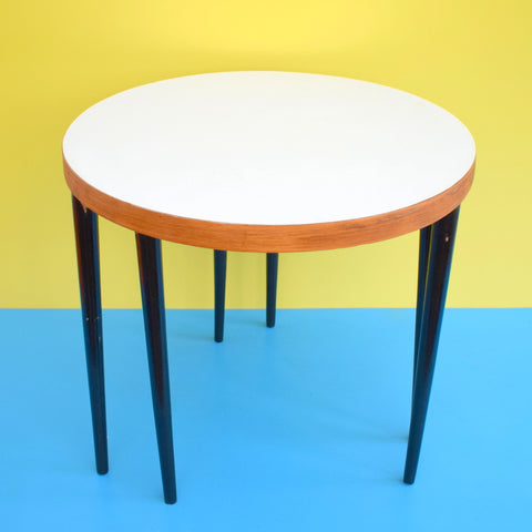 Vintage 1950s Nest / Pair Of Side Tables - White Formica / Teak & black Legs