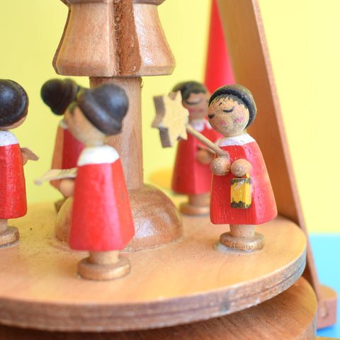 Vintage German Wooden Windmill / Candle Holder - Medium - Erzgebirge Red Choir