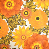 Vintage 1960s Double Bed Cover - Textured Weave With Fringe - Orange flower Power - Unused