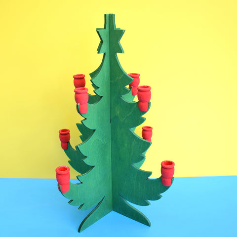 Vintage 1970s Swedish Wooden Kitsch Christmas Tree Candle Holder - Green .
