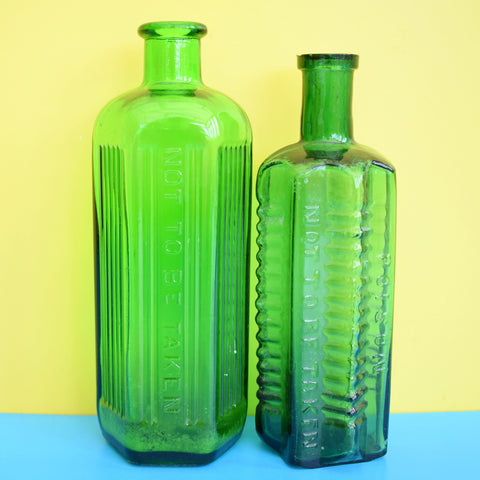 Vintage 1920s Glass Poison Bottles - Emerald Green - Great Bud Vases For Flowers
