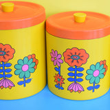 Vintage 1960s Flower Power Lacquered Storage Tin Set (4) - Yellow & Orange