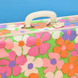 Vintage 1960s PVC Large Suitcase, Flower Power - Pink, Orange, Green, Purple