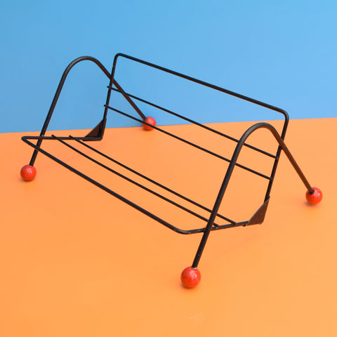 Vintage 1950s Atomic Book Rack - Red, Black