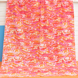 Vintage 1960s Jonelle - Water Music - Curtains Flower Power,  Pink & Orange