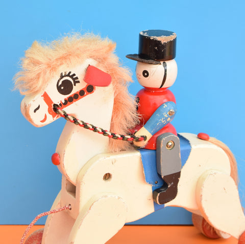 Vintage 1960s Wooden Horse & Soldier Rider - Red & Blue - Loved
