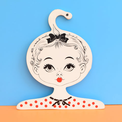 Vintage 1960s Wooden Clothes Hanger - Young Girl