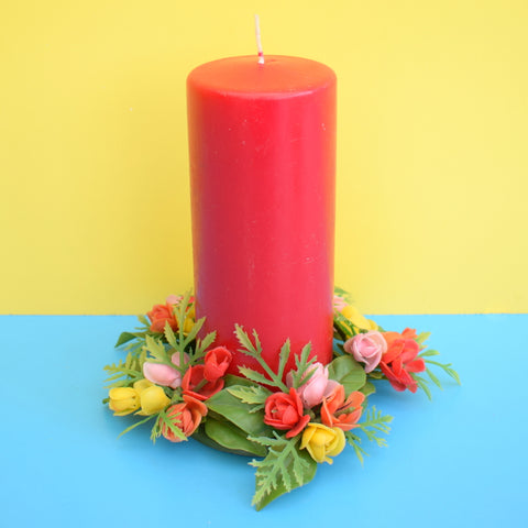 Vintage 1960s Kitsch Plastic Flower Candle Holder & Co-Ordinating Pillar Candle - Red