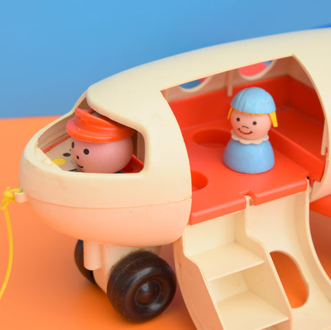 Vintage 1970s kitsch Plastic Fisher Price Little People Plane Toy - Blue / Red