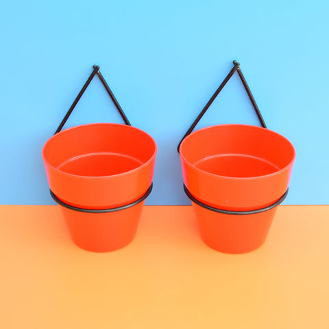 Vintage 1950s Atomic Wall Planters & Pots - Red & Black (Pair)