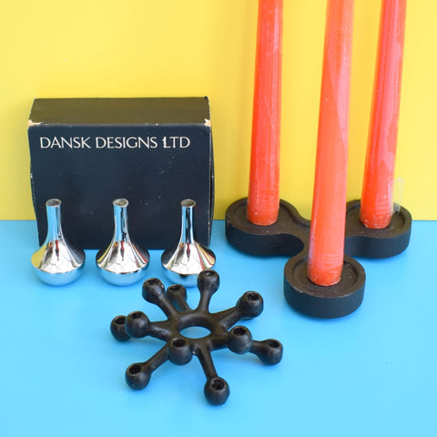 Vintage 1970s Cast Metal / Chrome Candle Holders - David Mellor, Dansk , Quist