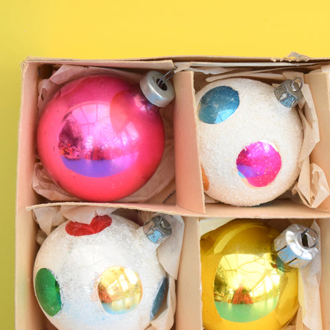 Vintage Mixed 1950s Medium Glass Christmas Baubles / Decorations - Spots , Yellow & Pink