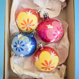 Vintage 1950s Medium Glass Christmas Baubles / Decorations - Flowers x4