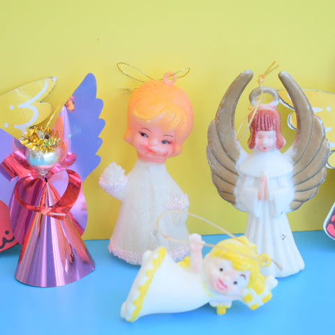 Vintage 1960s Christmas Fairy / Star Tree Toppers - Glitter / Plastic / Paper