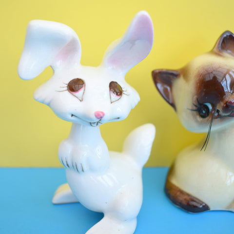 Vintage 1950s Kitsch Ceramic Nodding Rabbit / Cute Kittens Ornaments
