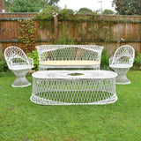 Vintage Fibreglass Strand Garden Set- Bench, 2 Arm chairs & Coffee Table- Russell Woodard