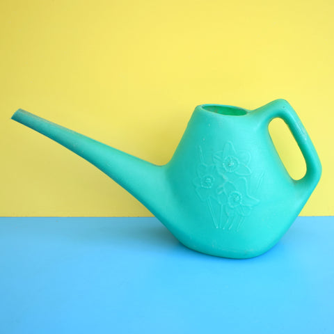 Vintage 1970s Indoor Plant Watering Can - Daffodil Design - Turquoise