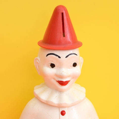 Vintage 1960s kitsch Plastic Clown Wobble Weeble Esk Money Box Toy