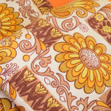 Vintage 1960s Barkcloth Curtains Flower Power,  Mustard