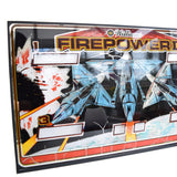 Vintage 1980s Glass Pinball panel - Williams - Firepower 2, Fighter Planes
