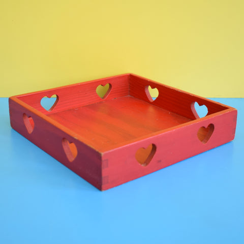 Vintage 1970s Swedish Wooden Box - Heart Design - Red