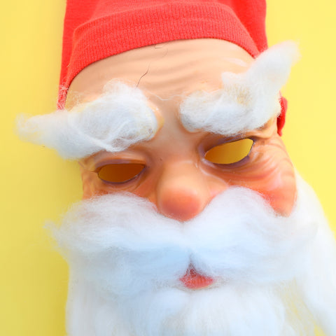Vintage 1960s Scary Santa / Father Christmas Mask - Built In Hat