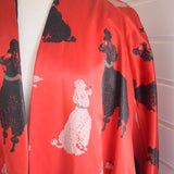 Vintage 1950s Satin Evening Coat / Kimono Style - Poodles - Red/ Black
