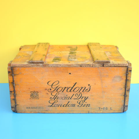 Vintage 1950s Large Wooden Crate / Box - Gordon's Special Dry London Gin