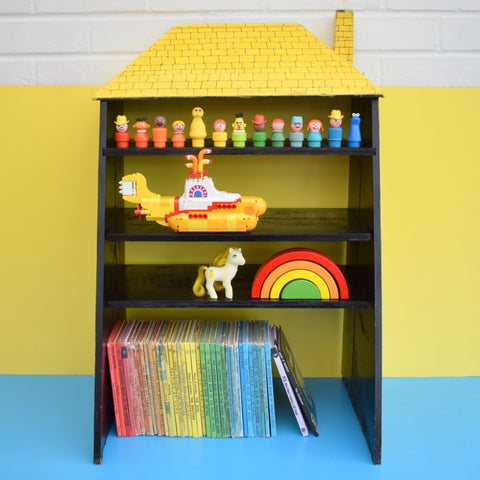 Vintage 1950s Unique Wooden Dolls House Shelves - Shop Advertising - Yellow