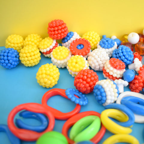 Vintage 1970s Plastic Beads - Toys / Necklace - Rainbow Colours