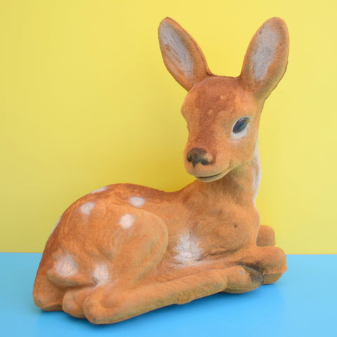 Vintage 1960s Kitsch Flocked Large Deer / Bambi Ornament