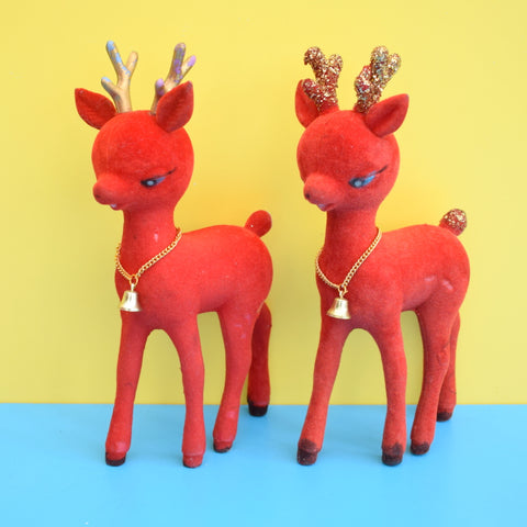 Vintage 1960s Bambi Flocked Kitsch Christmas Deer Ornaments - Red