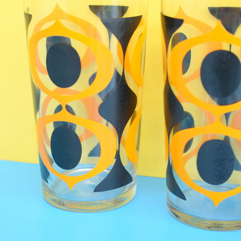 Vintage 1960s Set of Geometric Glasses - Ravenhead - Boxed - Orange & Black