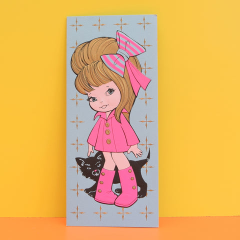 Vintage 1970s Greeting Card - American - Girl With Black Cat