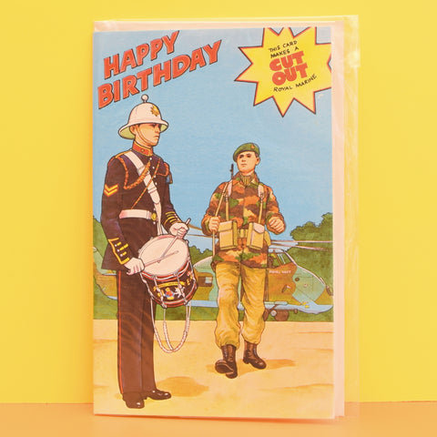 Vintage 1970s Greeting Card - Cut Out - Happy Birthday Royal Marine Soldier
