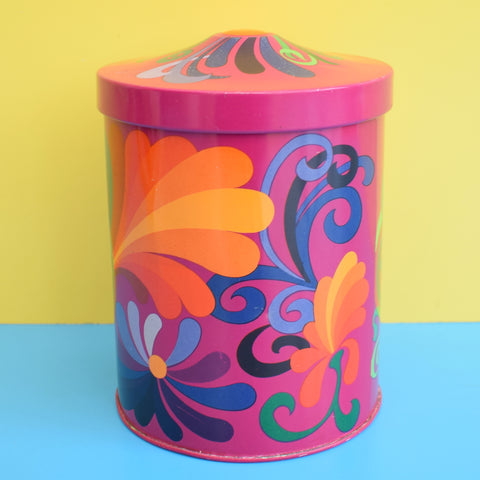 Vintage 1970s Round Metal Tin - Psychedelic Design, Purple