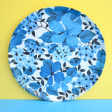 Vintage 1960s Flower Power Round Mallod Tray & Matching Chopping Board - Blue
