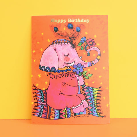 Vintage 1970s Greeting Card - by Gwyneth Mamlok - Flying Elephant
