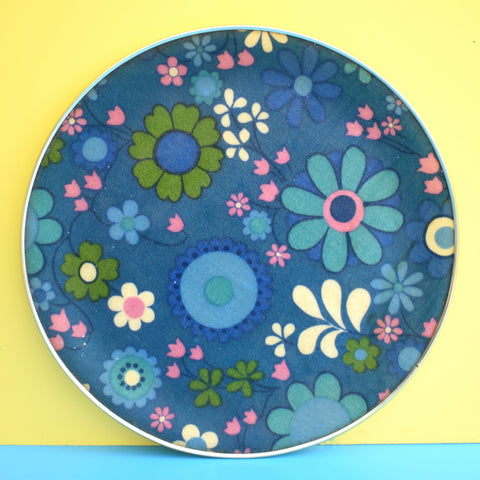 Vintage 1960s fibreglass Round Tray - Flower Power Design - Blue