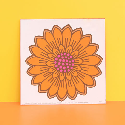 Vintage 1970s Sticker - by Jan Pienkowski - Single Flower Design, Orange