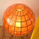 Vintage Sputnik Floor Lamp - Chrome Rocket / Capiz Shell Globe - Orange