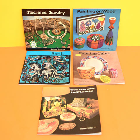 Vintage 1970s Leisure Craft Books - Plastic, Macrame Jewellery, Batik, Painting China, Painting Wood
