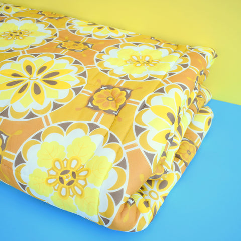 Vintage 1960s Eiderdown / Throw - Flower Power - Mustard Yellow / Brown
