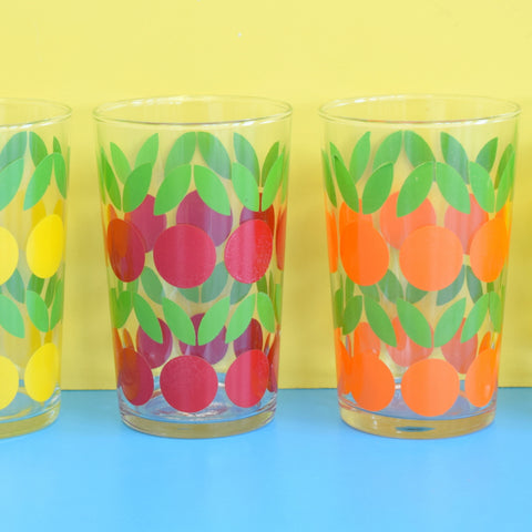 Vintage 1960s Fruit Design Drinking Glasses - Gorgeous