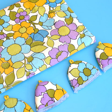 Vintage 1960s Tablecloth & Egg Cosy Set - Flower Power